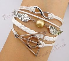 Infinity, Harry Potter Snitch & Deathly Hallows Charm Bracelet--Friendship Gift-Personalized Bracelet. $9.99, via Etsy.