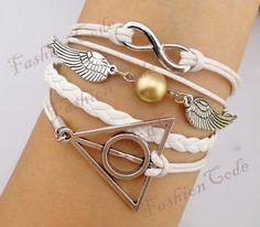 Bracelet - Infinity, Wings & Deathly Hallows Charm Bracelet - Harry Potter Inspired Bracelets - Best Gift - Customize Your Favourite Style. $7.99, via Etsy.
