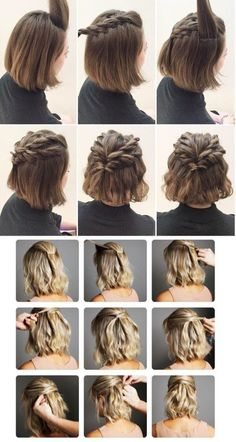170 Easy Hairstyles Step by Step DIY hair-styling can help you to stand apart fr. - 170 Easy Hairstyles Step by Step DIY hair-styling can help you to stand apart from the crowds – P - Medium Hair Styles, Curly Hair Styles, Short Hair Wedding Styles, Short Hair Styles Easy, Short Hair Simple Updo, Shirt Hair Styles, Short Hair Braids Easy, Buns For Short Hair, Trendy Wedding