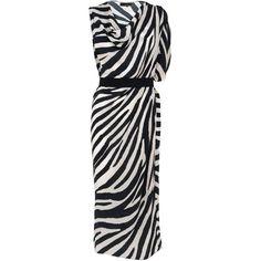 Amanda Wakeley Asura Short Dress ($350) ❤ liked on Polyvore featuring dresses, draped sleeve dress, sleeve cocktail dress, silk cocktail dress, silk mini dress and zebra print dress