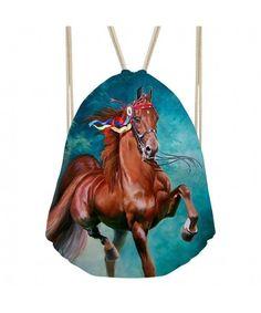 Crazy Horse Pattern Blue Cinch Gym Bags for Men Women Soccer Tennis - crazy  horse - CU189T8EK8C. Sac De ... a2b15f827bdf2