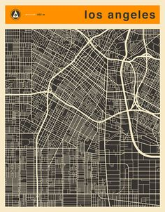 Poster | LOS ANGELES MAP von Jazzberry Blue