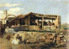 """Manuel Wssel de Guimbarda, 1.895 """"Lavadero"""" Óleo sobre tabla 19 x 26 Colección particular Cartagena"""