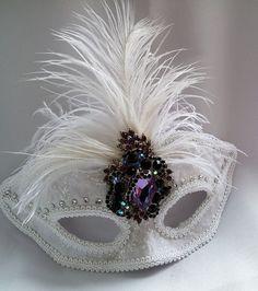 White And Purple Bridal Mask, Masquerade Mask, Half Mask, Handmade Mask,Wedding Photo Prop by IrmasElegantBoutique on Etsy