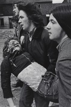 A boy shot by the British Army with a rubber bullet, Lower Falls Road, Belfast, by Gilles Peress Belfast, Northern Ireland Troubles, Time In Ireland, Irish Republican Army, Old Irish, French Photographers, Magnum Photos, British Army, The New Yorker
