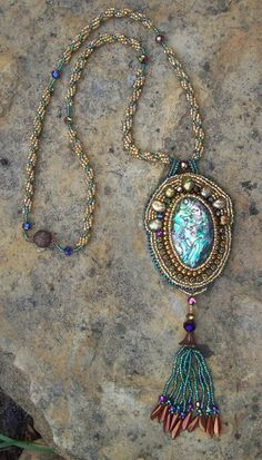 Golden Seas Bead Embroidered Necklace by PaintedTreeStudio on Etsy, $225.00