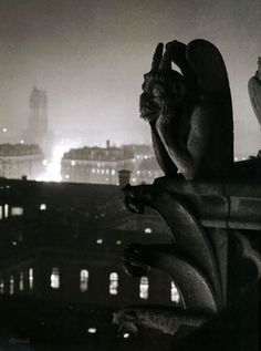"""The stryge"" at Notre-Dame in Paris, by Brassaï (ca. 1935)"