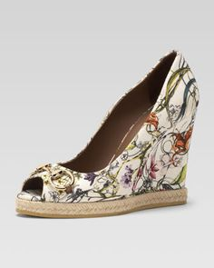 @Francesca Stasi Floral Canvas Wedge Pump  by Gucci at Neiman Marcus. - had to do it! so luau appropriate! & matching bag