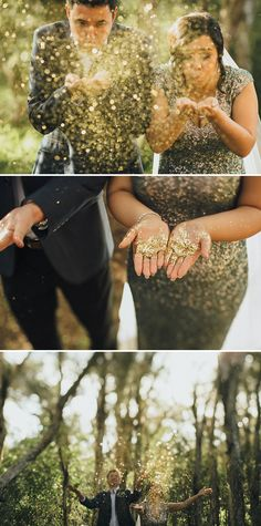 Fun wedding idea using gold glitter // Florist Jappalin of FlowerTalk helped her son Brendan and daughter-in-law Mariana plan and style their vintage-inspired nuptials, where the bride dazzled in a gold and green sequined gown befitting the theme. Singapore-based photographers Samuel Goh Photography and Ksana captured every sweet detail of this intimate celebration held at the groom's family home in the Perth countryside.