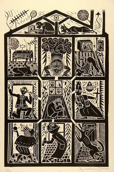 This linocut is a portrait of a young man with schizophrenia. He is the huddled figure in the central window. It is a tragic subject but not devoid of