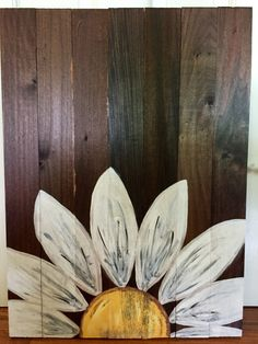 Wooden Hand Painted Daisy- Plain or customized writing by GracefullyMessy on Etsy