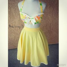 Pinup Rockabilly Vintage style 2 piece Playsuit by MissLizzyD Pin Up Yellow floral bandeau halter top.  Full circle Skirt Shabby chic playsuit French Country floral