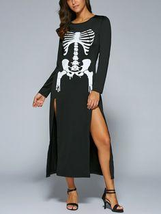 $10.59 Halloween High Slit Skeleton Maxi Dress
