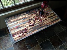 Vintage and Modern Mosaic Coffee Table >>> Reclaimed Upcycle Rustic Wood with Vintage Eames Style Steel Hairpin Legs