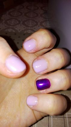 Purple and pink semipermanent gelish nail polish for ruined cuticles..