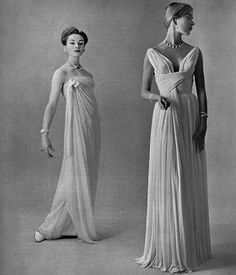 Model on left in Dior's pale pink silk-chiffon strapless gown, model on right in…