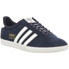 Adidas Gazelle Og (£67) ❤ liked on Polyvore featuring shoes, sneakers, trainers, dark indigo white, unisex sports, sports footwear, indigo shoes, unisex shoes, adidas shoes and white trainers