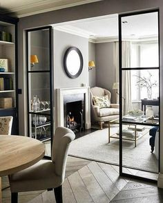 Sims Hilditch Parsons Green Townhouse Contemporary Sitting Room with crittal doo… - Aufenthaltsraum Home Living Room, Interior Design Living Room, Living Room Decor, Dining Room, Living Room Suites, Interior Livingroom, Kitchen Interior, Dining Area, Open Plan Kitchen Living Room