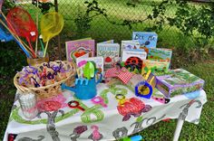 Garden bug themed party table. Keep the kids entertained with fun and games at their own table.