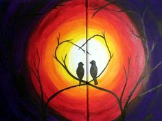 Each person will choose which side to pa. Cute Paintings, Simple Acrylic Paintings, Painting Love Couple, Painting Activities, Painting Classes, Wine And Canvas, Art Party, Diy Painting, Amazing Art