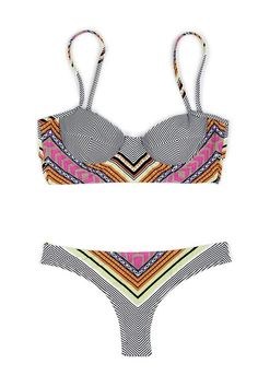 Mara Hoffman Tiki Bustier Bikini... love the nautical stripes and the tribal color pattern
