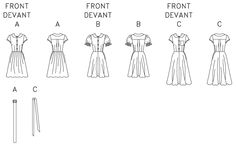 Line Art Pattern to make 50s button front dress