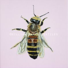 Honey Bee  Embroidered Textile Art Canvas by gillianbates on Etsy
