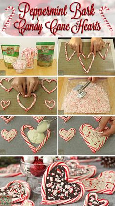 These Peppermint Bark Candy Cane Hearts are the perfect Christmas gift! Fill candy canes with peppermint bark in this fun and easy Christmas candy recipe. Easy Christmas Candy Recipes, Christmas Snacks, Christmas Goodies, Holiday Treats, Christmas Baking, Christmas Fun, Diy Christmas Food Gifts, Valentine Recipes, Valentines