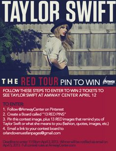 Taylor Swift tickets up for grabs. Amway Center, April 12! Deadline to enter is April 3.