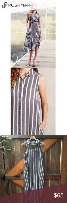 Anthropologie Holding Horses striped shirt dress 2 Soft button up vertical striped midi shirt dress from Anthropologie. Has pockets, and looks great belted. Size 2, gently worn and hung to dry. Reasonable offers welcome. 20% off all bundles. Anthropologie Dresses Midi