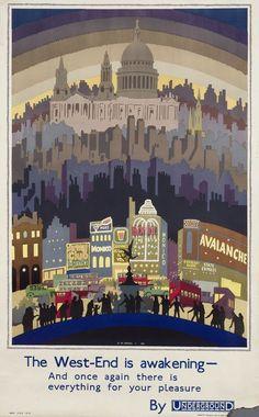 The West-End Is Awakening by Ernest Michael Dinkel, 1931 London Underground poster Vintage London, London Underground, London Nightlife, London Poster, London Art, London Pride, London Transport Museum, Public Transport, Museum Poster