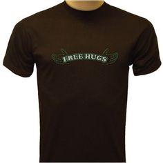 Free Hugs T-shirt Funny T-shirt Large Olive Green