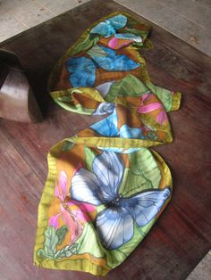 Hand painted Morpho butterflies on silk by crsilks on Etsy, SOLD