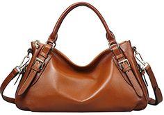 Heshe® Luxury Ladies New Fashion Soft Cowhide Leather Top-handle Tote Shoulder Messenger Bag Cross Body Purse Vintage Handbag Casual Simple Style (Sorrel)