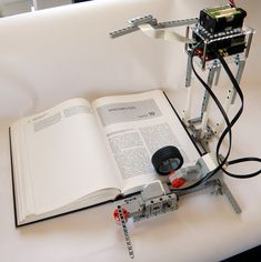 Use the power of Lego Mindstorms and a Raspberry Pi to digitize and vocalize books.