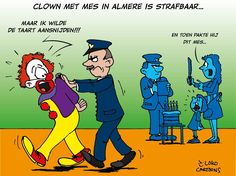 Clown met mes in almere is strafbaar