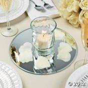 Table mirror, vase, candle, & flower petals...pretty centerpiece