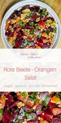 - Orange - Salad - Beetroot with orange and walnuts, quick and easy. Beetroot has an antioxidant effect and supports y -Beetroot - Orange - Salad - Beetroot with orange and walnuts, quick and easy. Beetroot has an antioxidant eff. Healthy Food Recipes, Easy Salad Recipes, Easy Salads, Healthy Salads, Easy Dinner Recipes, Vegan Recipes, Easy Meals, Chou Rave, Beetroot
