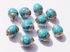 10 beads - Tibetan Blue Crackle Beads with Double Vajra Filigree Repousse Tibetan Silver Caps - Ethnic Tibetan Unique Beads - B1406