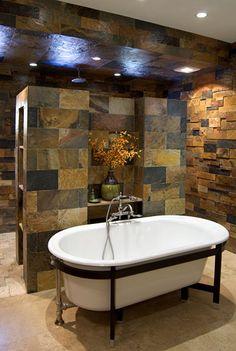 Walk through shower with tub