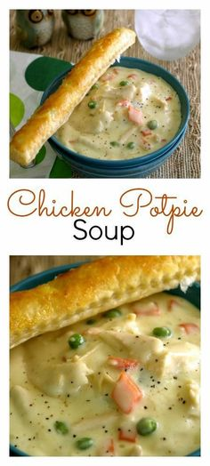 This delicious Chicken Pot Pie Soup is a simple recipe made from scratch without the use of canned soup. It is hearty and rich and full of calories but that's what makes it a comfort food classic. Chicken Pot Pie Soup Recipe, Beef Soup Recipes, Healthy Soup Recipes, Cooking Recipes, Chicken Recipes, Chicken Ideas, Simple Recipes, Chicken Cream Soup, Delicious Recipes