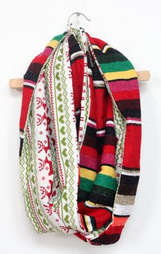 Red Mexican Serape and Vintage Classic Christmas Sweater-Esque infinity Scarf by JustDawnelle