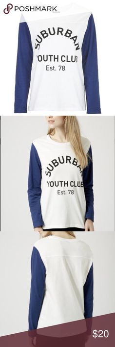 Topshop Blue Suburban Youth Club Raglan Top Cotton jersey raglan top in a slight oversized fit with printed front. 100% cotton. Topshop Tops Tees - Long Sleeve