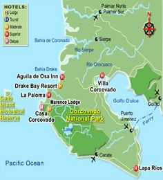 Map of hotel in Corcovado National Park - osa peninsula and drake bay