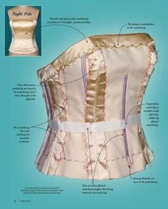 Most current Snap Shots threads magazine sewing tutorials Popular Satin corset bodice with underlining details, boning, bias cuts, handstitching, hems and markings. Motif Corset, Corset Pattern, Sewing Hacks, Sewing Tutorials, Sewing Crafts, Sewing Tips, Dress Sewing Patterns, Clothing Patterns, Fashion Sewing