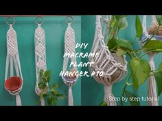How to make a super cute and simple macrame plant hanger #10 | Easy for macrame beginners - YouTube Macrame Tutorial, Macrame Patterns, Macrame Knots, Sewing Projects For Beginners, Plant Hanger, Super Cute, Simple, Easy, Youtube