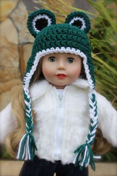 Fun Frog Hat for American Girl Dolls. Available at Harmony Club Dolls online store www.harmonyclubdolls.com