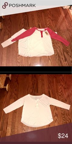"""2 AEO Soft & Sexy T Raglan Henley white red SZ XS 2 new with tags raglan 3/4 sleeve with Henley buttons. Both are from the soft & sexy T collection. One is white and the other is white with contrast red. Both are size XS measures 16"""" unstretched to at least 20"""" and approx . 21"""". Raw hem American Eagle Outfitters Tops"""