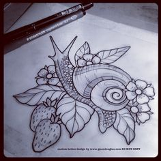 guendouglas: For tomorrow (also an Apollo butterfly not pictured) to add into the inner arm of an in progress floral/strawberry ¾ sleeve #tattoo #tattoos #snail #strawberry #flowers