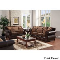 love these for my living room Furniture of America Traditional Franchesca 2-piece Fabric-Leatherette Sofa Set | Overstock™ Shopping - Great Deals on Furniture of America Sofas & Loveseats